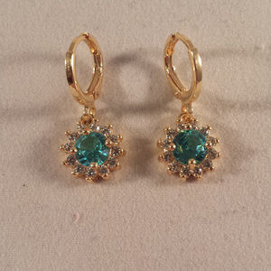 18k GF Blue Topaz Zircon Sunflower Earrings